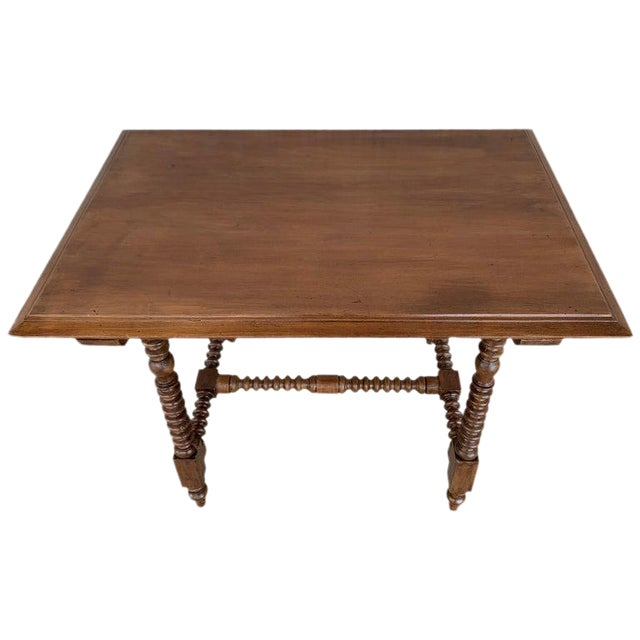Spanish Baroque Side Table With Wood Stretcher and Carved Top in Walnut For Sale