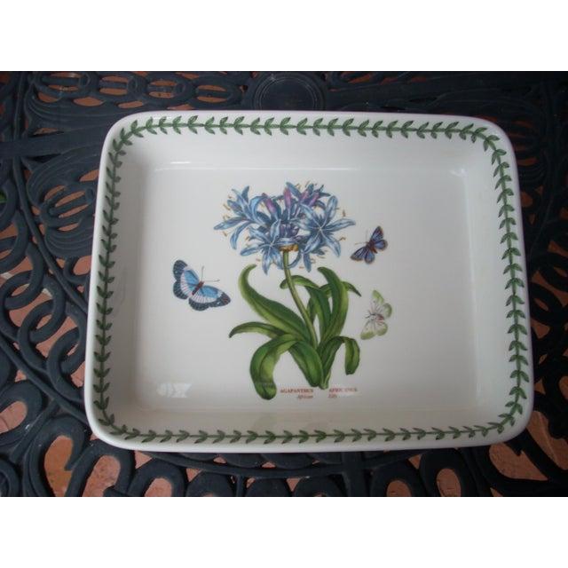 Botanical Garden; made in England; African lily pattern baking dish; mauve blossom and butterfly pattern outside; perfect...