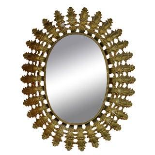 Sunburst Oval Wall Mirror For Sale
