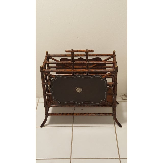 1960s Mid-Century Modern Maitland Smith Bamboo and Leather Magazine Rack For Sale - Image 9 of 9