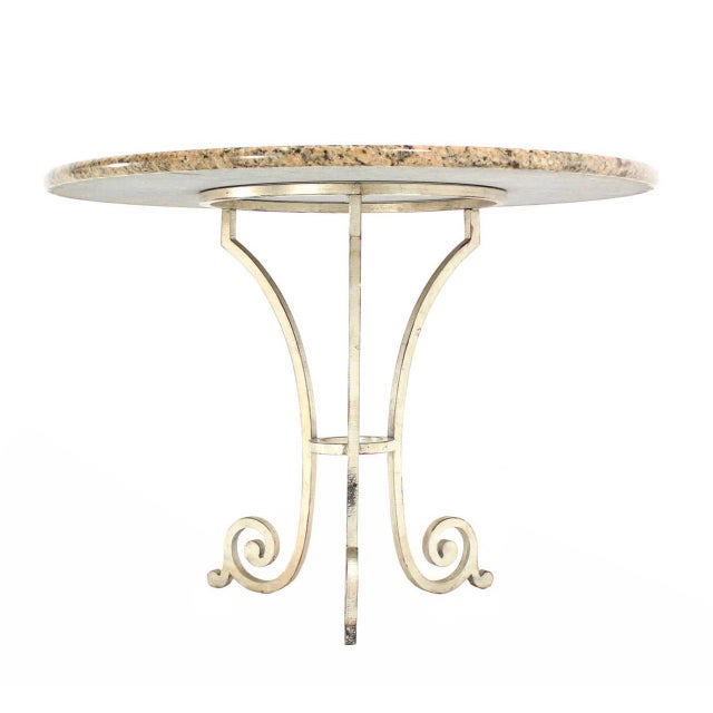 Early 20th Century Granite Top Heavy Iron Base Round Gueridon Cafe Center Table For Sale - Image 5 of 5