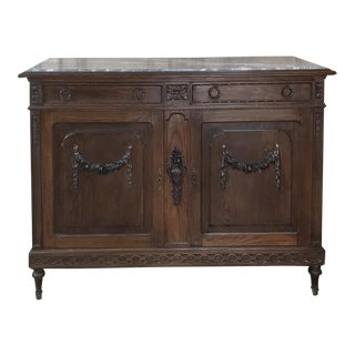 Antique French Louis XVI Marble Top Buffet For Sale