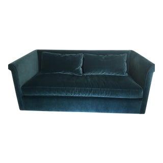 Abc Carpet & Home Blue Velvet Highline Queen Sleeper Sofa