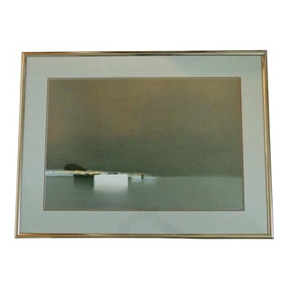"""1960s Vintage Pierre Doutreleau """"Distant Harbor"""" French Lithograph Print For Sale"""