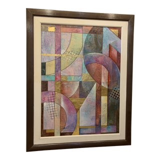 Abstract Mixed Media Painting With Gold Leaf by Richard Hall For Sale