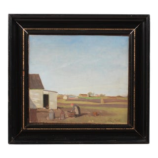 Early 20th c. Abstract Farm Scene For Sale