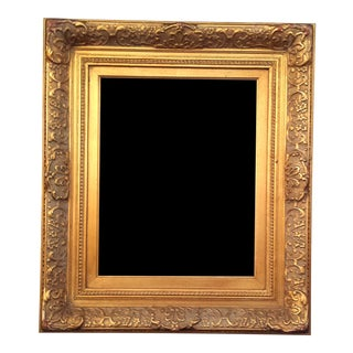 "Large Heavy Gilded Antique Gold Barbizon Baroque Finished Mirror Frame Opening Size 16""x20"""