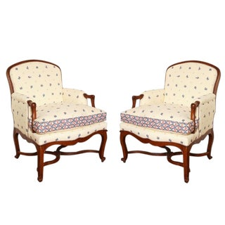 Early 19th Century Vintage Bunny Mellon Estate Bergeres- A Pair For Sale