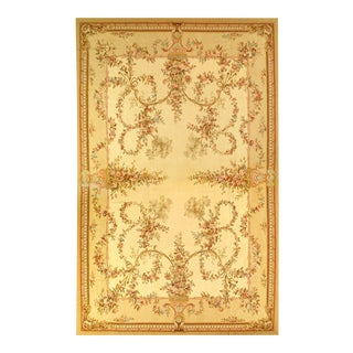 Beige Color Fine Hand Knotted Abusson Rug 12' X 18'4'' For Sale