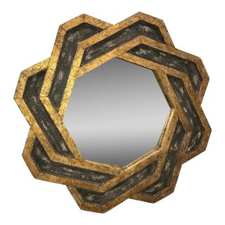 Gold and Bronze Geometric Wall Mirror For Sale