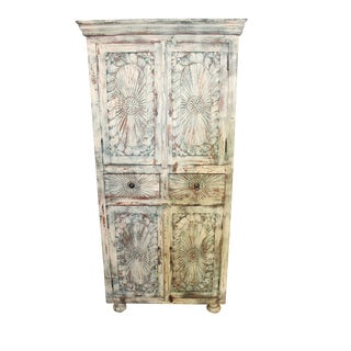Chakra Cabinet Antique Indian Rustic Patina Carving Armoire For Sale
