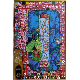 """1972 Hundertwasser Olympische """"Spiele Munchen"""" Serigraph Numbered #2409/3999 For Sale"""