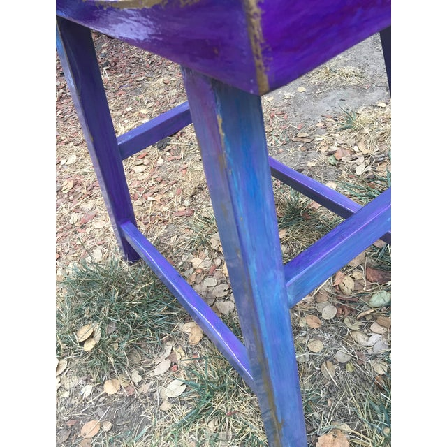 Hand-Painted Violet Saddle Seat For Sale - Image 5 of 5
