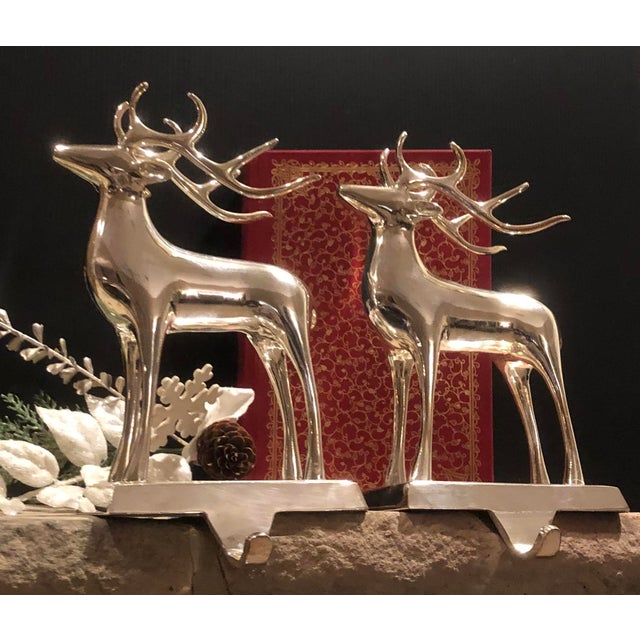 Vintage Solid Reindeer Stocking Hooks Silver Plated Pair For Sale - Image 9 of 10