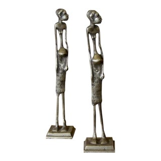 Pair of African Brass Tribal Statues For Sale