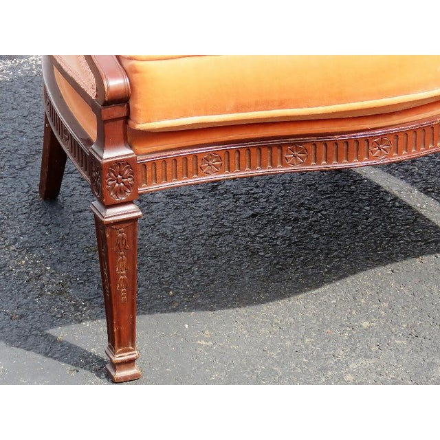Carved Walnut Upholstered Armchairs - A Pair For Sale - Image 5 of 8