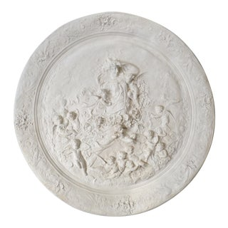 Vintage Molded Plaster Woman & Cherubs Plaque