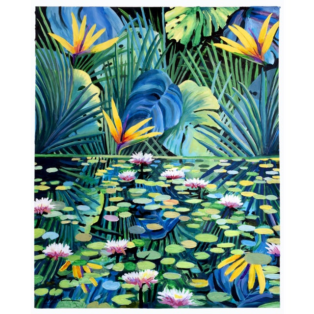 """""""Reflection"""" Tropical Acrylic Painting For Sale - Image 10 of 10"""