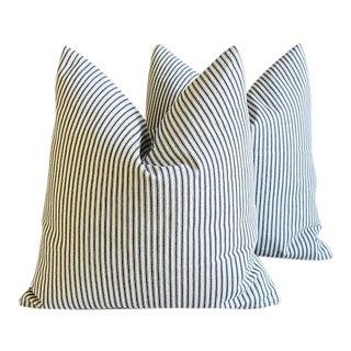 "Nautical Blue/White Ticking Feather/Down Pillows 24"" Square - Pair"