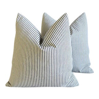 "Nautical French Blue & White Feather/Down Pillows 23"" Square - Pair For Sale"