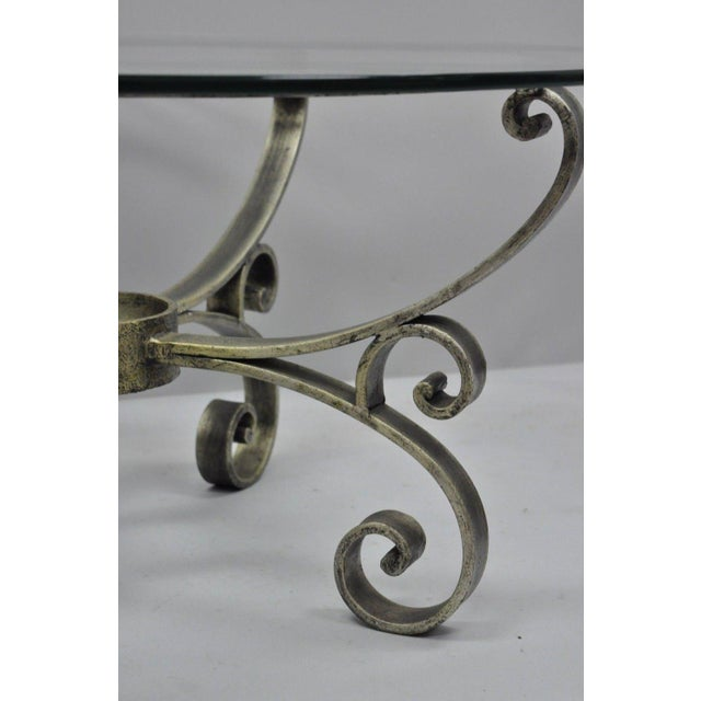 Late 20th Century Late 20th Century Vintage Scrolling Iron & Glass Top Coffee Table For Sale - Image 5 of 11