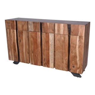 Three Drawer Acacia Wood Storage Sideboard for Living Room