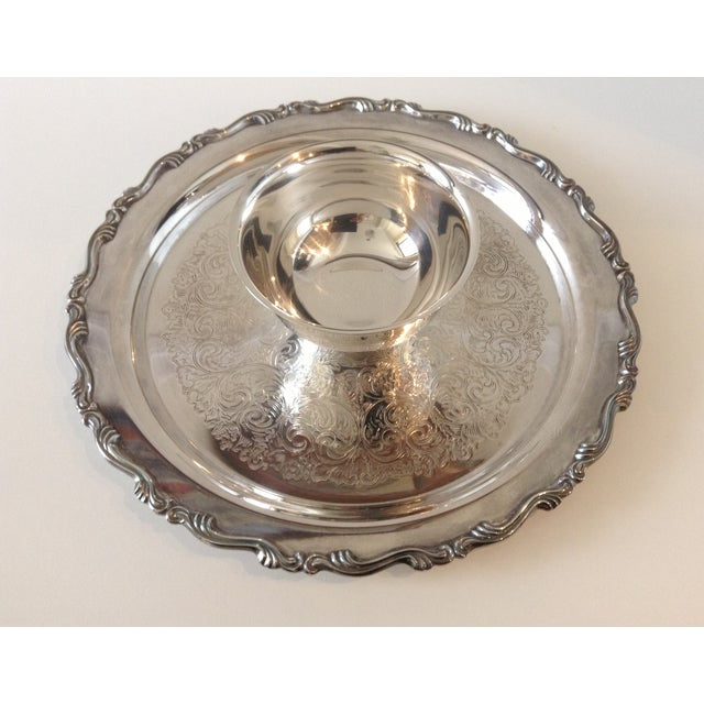 Rogers Bros. Silver Plate Chip-N-Dip Server Platter For Sale - Image 4 of 7
