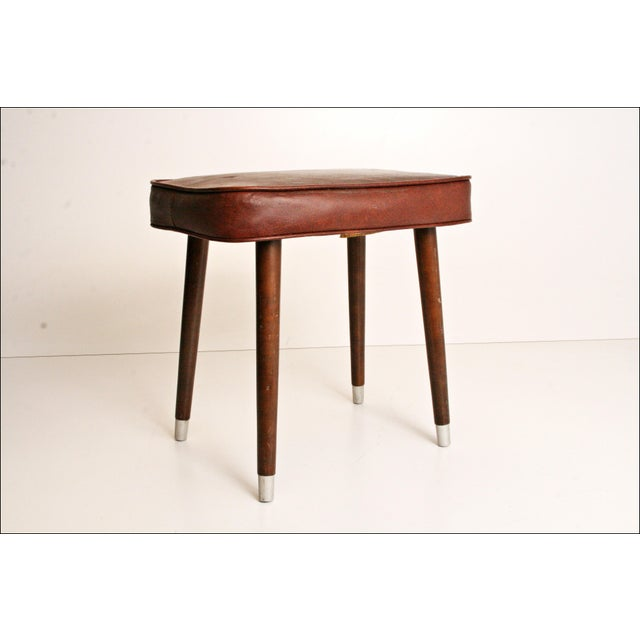 Mid-Century Brown Vinyl Foot Stool - Image 4 of 8