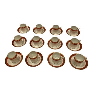 Richard Ginori China Palermo Rust / Red Demitasse Espresso Cup and Saucer 24 Pieces