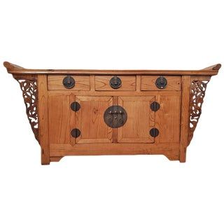Antique Chinese Wood Console Cabinet