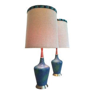 Mid-Century Modern Aqua Blue Textured Lamps With Brass & Walnut Accents + Linen Shades For Sale