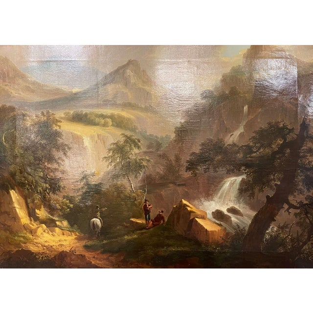 Created in France circa 1850 and set in the original carved gilt wood frame, the art work depicts a pastoral scene with...