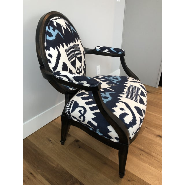 Highland House Kazak by China Seas Fabric and Leather Upholstered Medallion Back Lounge Chair For Sale - Image 12 of 13