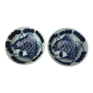 Hand Painted Blue & White Fish Bowls. Set 2