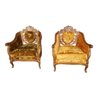 Vintage Hollywood Regency Gold Carved Wood Brown and Orange Velvet Chairs - a Pair For Sale
