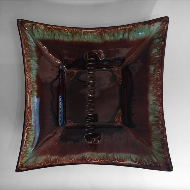 Mid-Century Modern Pfaltzgraff Brown & Turquoise Drip Glaze Ashtray For Sale - Image 3 of 5