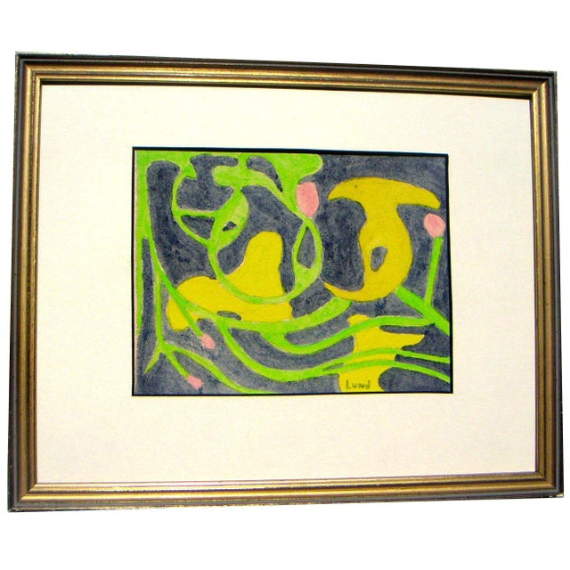 Vintage Biomorphic Abstract Painting For Sale