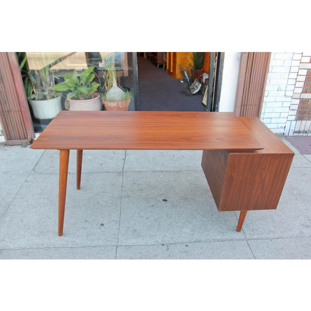 Mid-Century Style Walnut Desk For Sale - Image 4 of 13