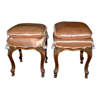 Pair of Italian Hand Carved and Silk Upholstered Benches C.1950s For Sale