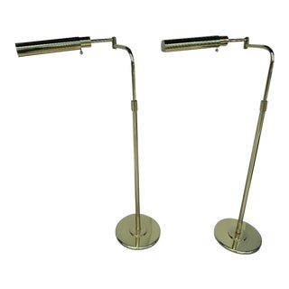 Swing -Arm Adjustable Pharmacy Brass Floor Lamps, Vintage - A Pair For Sale
