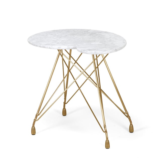 Contemporary La Virgule Etoile Bronze Side Table with Carrara Marble Top For Sale - Image 3 of 5