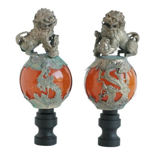 Chinese Foo Dog Lamp Finials - a Pair For Sale