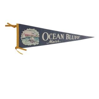 Vintage Ocean Bluff Mass. Felt Flag Pennant For Sale