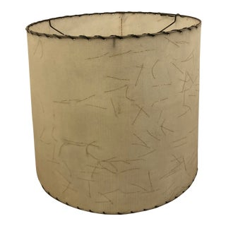 Vintage Mid Century Modern Beige Fiberglass Lamp Shade With Gold Sparkle Accent For Sale