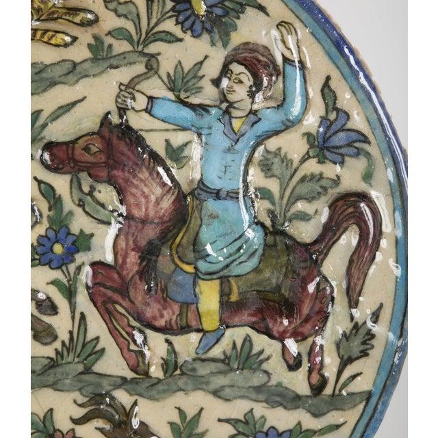 Blue Glazed Persian Ceramic Rondel With Archers on Horseback For Sale - Image 8 of 13