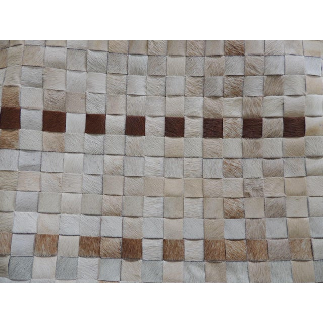 Boho Chic Tan and Brown Cowhide Basket Weave Decorative Pillow For Sale - Image 3 of 5