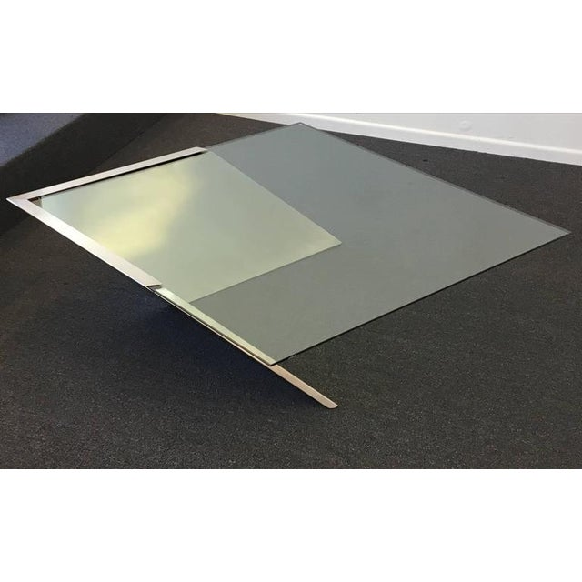 Brushed Stainless Steel and Glass Cocktail Table by Brueton - Image 5 of 9