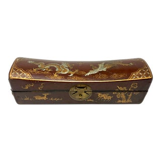 Antique Chinese Hand-Painted Leather Pillow Box For Sale