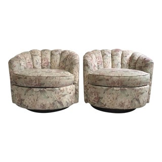 Milo Baughman Style Walnut Plinth Base Swivel Chairs - A Pair