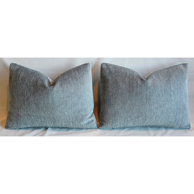 """Blue & White Italian Mariano Fortuny Feather/Down Pillows 22"""" X 16"""" - Pair For Sale - Image 10 of 13"""